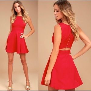 Lulu's Just Us Red Skater Dress Open Back Size XS